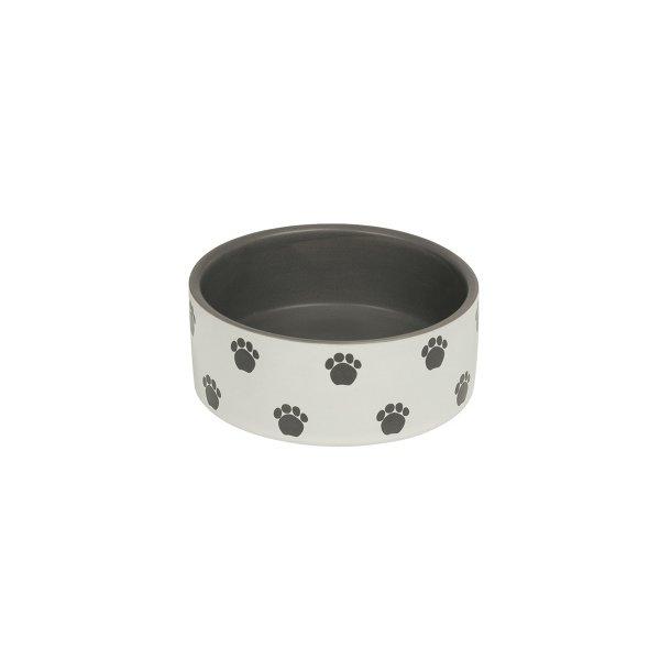 Keramikskål m/poter, cream-grå, Ø12x4,5cm